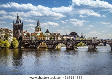 Pargue , view of the Lesser Bridge Tower and Charles Bridge (Karluv Most), Czech Republic.  - stock photo