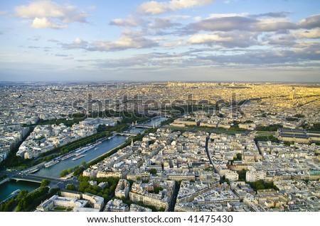 paris aerial view - stock photo