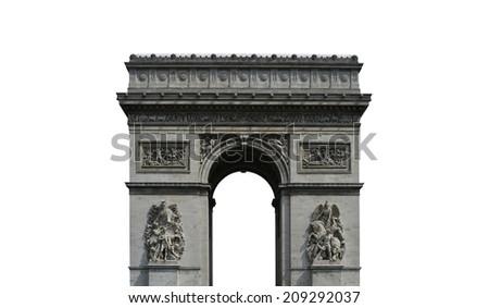 Paris arc de Triomphe on the Champs Elysees, France - stock photo