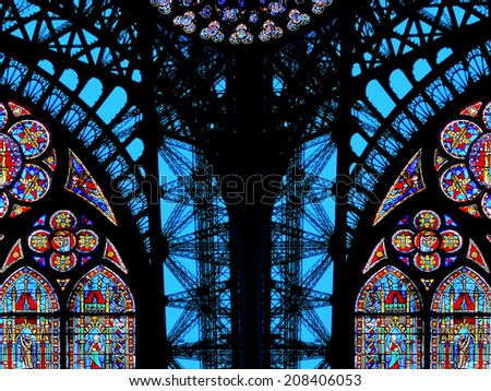 Paris architecture profiles (Eiffel Tower fragment and Notre Dame cathedral stained glasses) - stock photo