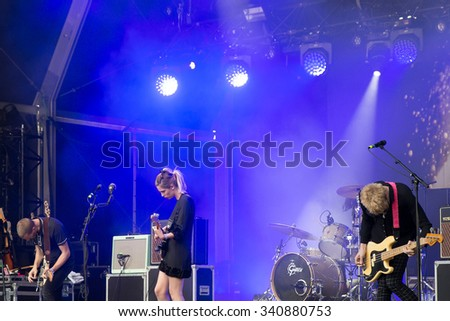 PARIS - AUG 28: Wolf Alice (band) in concert at Rock En Seine Festival on August 28, 2015 in Paris, France. - stock photo