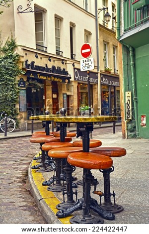 PARIS -August 18: View of typical paris cafe in the Quartier Latin of Paris on August 18, 2014, Paris, France - stock photo
