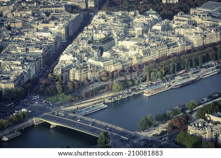 Paris bridge with Seine River, France - stock photo