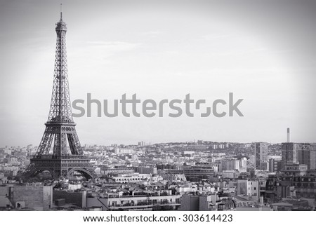 Paris, capital city of France - cityscape with Eiffel Tower. - stock photo