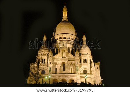 Paris, cathedral, basilica sacre coeur (sacred heart) seen from below by night.  Architecture, religion concept - stock photo