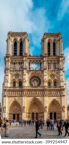 Paris -  Cathedral of Notre Dame, France. Daylight with blue sky/Paris - Notre Dame, France - stock photo