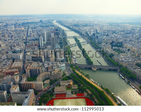 Paris city aerial view from Eiffel tower. France. - stock photo