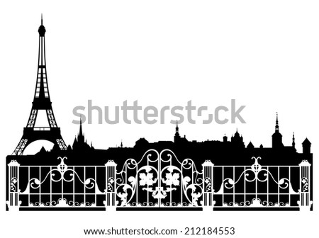 Paris city easy editable decorative border - french cityscape with eiffel tower silhouette - stock photo