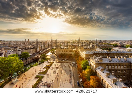 Paris city landmarks shooted from the Notre Dame towers.  - stock photo