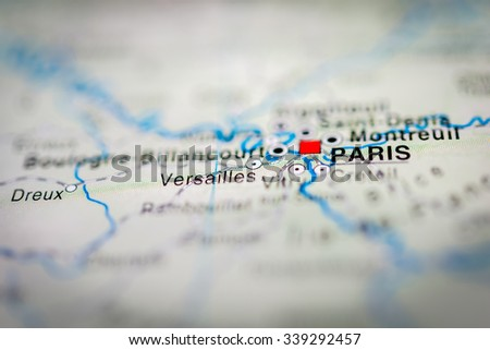 Paris close up on map. Shallow depth of field. (vignette) - stock photo
