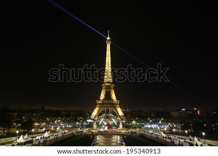Paris - December, 30: Christmas market and light performance show on December, 30, 2013 in Paris, France. - stock photo