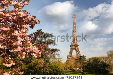 Paris, Eiffel Tower in spring - stock photo