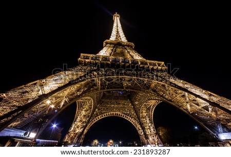 Paris Eiffel tower night wide angle - stock photo