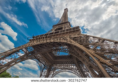 Paris Eiffel Tower on sunny day  - stock photo