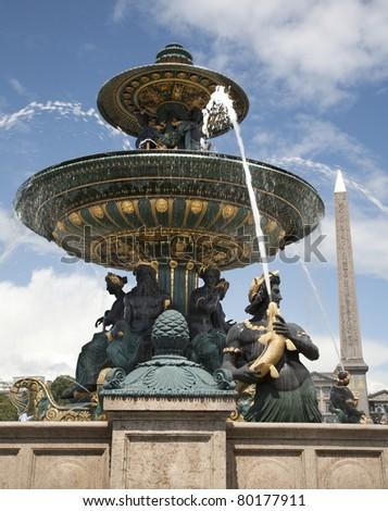 Paris - fountain from Place de la Concorde - stock photo