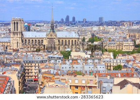 Paris, France - aerial city skyline view with Notre Dame cathedral. UNESCO World Heritage Site. - stock photo