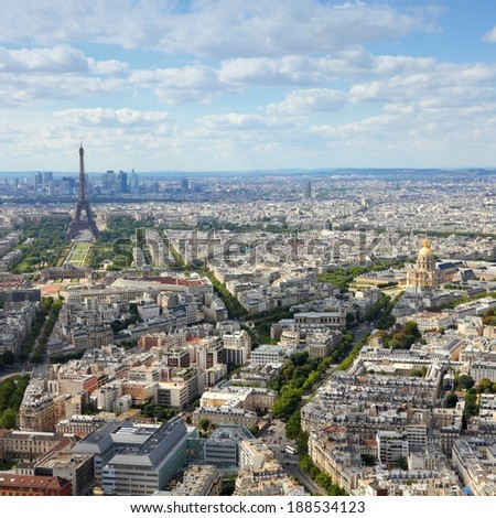 Paris, France - aerial city view Eiffel Tower. UNESCO World Heritage Site. Square composition. - stock photo