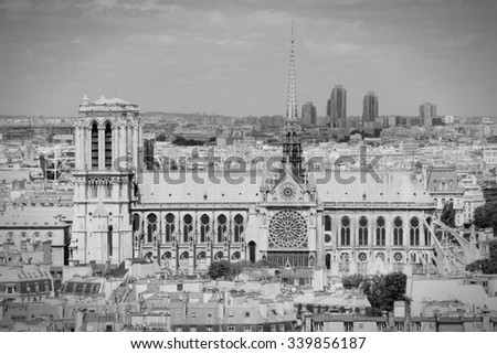 Paris, France - aerial city view with Notre Dame cathedral. UNESCO World Heritage Site. Black and white retro style. - stock photo
