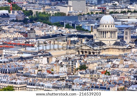 Paris, France - aerial city view with Pantheon. UNESCO World Heritage Site. - stock photo