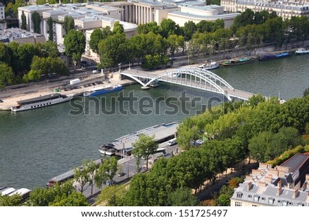 Paris, France - aerial city view with Seine River and Debilly footbridge. UNESCO World Heritage Site. - stock photo