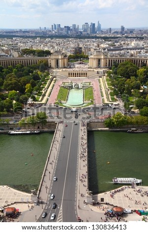 Paris, France - aerial city view with Seine River, Trocadero and La Defense in the background. UNESCO World Heritage Site. - stock photo