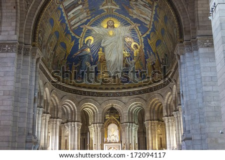 PARIS, FRANCE -  APRIL 25:Interior of Basilica Sacre Coeur on april 25, 2013 in Paris.  Popular landmark. Project by Paul Abadie. - stock photo