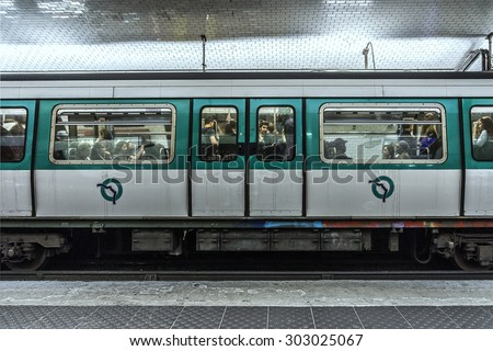PARIS, FRANCE - APRIL 24, 2015: View of Madeleine station was opened on 5 November 1910 as part of original section of Nord-Sud Company's line A between Porte de Versailles and Notre-Dame-de-Lorette. - stock photo