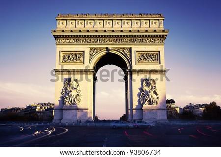Paris, France, Arc de Triomphe in the evening - stock photo