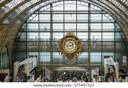 PARIS, FRANCE- AUGUST 19, 2014; D'orsay is a museum in Paris, France, on the left bank of the Seine. It is housed in the former Gare d'Orsay, a Beaux-Arts railway station built between 1898 and 1900.  - stock photo