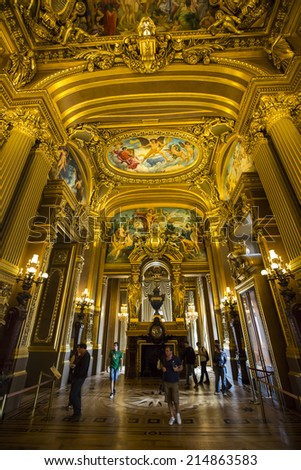 Paris, France - August 19: Interior view of the Garnier Opera in Paris, France on August 19, 2014. - stock photo