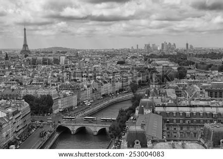 PARIS, FRANCE, August 5, 2014: Panorama of Paris. View from Cathedral Notre Dame de Paris, France - stock photo