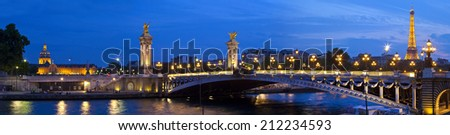 PARIS, FRANCE - AUGUST 6TH 2014: Panoramic view taking in the sights of Les Invalides, Pont Alexandre III and the Eiffel Tower in Paris on 6th August 2014. - stock photo