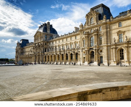 PARIS, FRANCE - AUGUST 13, 2014: The Passage Richelieu, which is part of the Louvre, from the court of Napoleon in Paris, France. Paris is one of the most popular tourist destinations in Europe. - stock photo