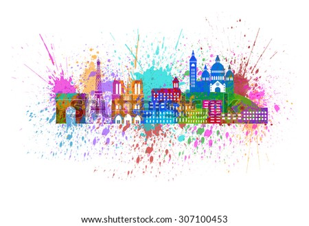 Paris France City Skyline Outline Silhouette Color with Abstract Paint Splatter Isolated on White Background Panorama Illustration - stock photo