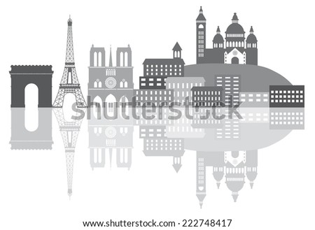 Paris France City Skyline Outline Silhouette Grayscale with Reflection Isolated on White Background Panorama Illustration - stock photo