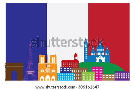 Paris France City Skyline Outline Silhouette in Flag of France Color Isolated on White Background Panorama Vector Illustration - stock photo