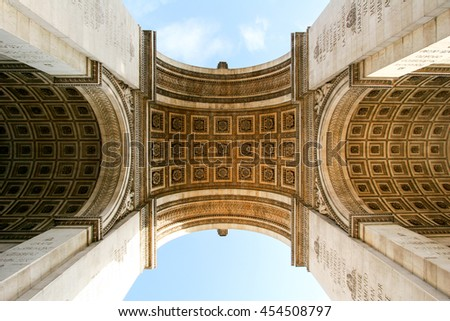 PARIS, FRANCE - DEC 17, 2005: Triunph Arch or Arc de Triomphe in Paris . One of the most famous monuments in Paris. Tomb of the Unknown Soldier from World War I. - stock photo