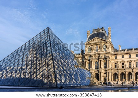 PARIS, FRANCE - DECEMBER 16, 2015: View Louvre building of Louvre Museum at sunset. Louvre Museum is one of the largest and most visited museums worldwide. - stock photo