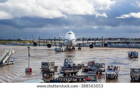 PARIS, FRANCE - FEB. 09, 2016: Corsair plane at Orly-Paris International Airport. - stock photo