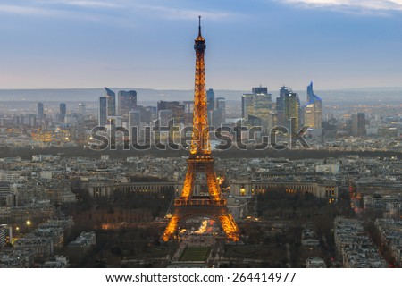 PARIS, FRANCE - FEB 28, 2015: The Eiffel Tower is one of the world's most famous landmark. It is also one of the most visited place in Paris, France. - stock photo
