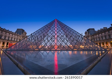 PARIS, FRANCE - FEB 28, 2015: The Louvre Museum is one of the world's most famous museums in France. It is also one of the most visited museums in Europe. - stock photo