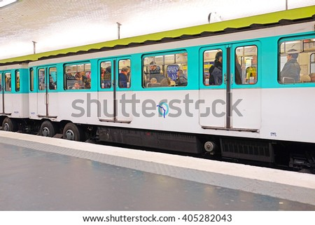 Paris, France, February 12, 2016: metro train in Paris, France. Metro is very popular transport in Paris - stock photo