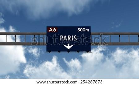 Paris France Highway Sign 3D Illustration - stock photo