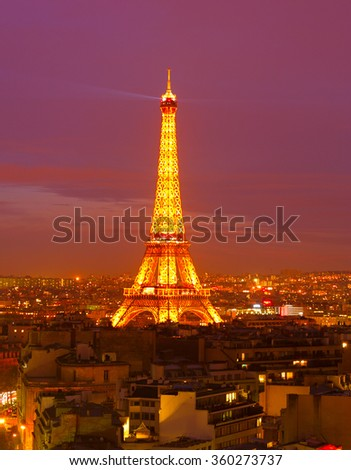 PARIS, FRANCE - JAN 18, 2015: Eiffel Tower Light Performance Show at night. The Eiffel tower is the most visited monument of France. - stock photo