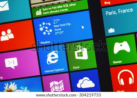 PARIS, FRANCE - JANUARY 26, 2015: Windows 8.1 PRO metro interface - stock photo