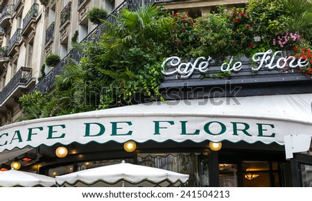 Paris, France-July 12, Cafe de Flore popular Parisian cafe, July 12.2014 in Paris - stock photo