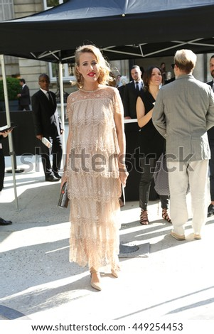 PARIS, FRANCE - JULY 06: Ksenia Sobchak attends the Valentino Haute Couture Fall/Winter 2016-2017 show as part of Paris Fashion Week. Outside arrivals.July 6, 2016  in Paris, France - stock photo