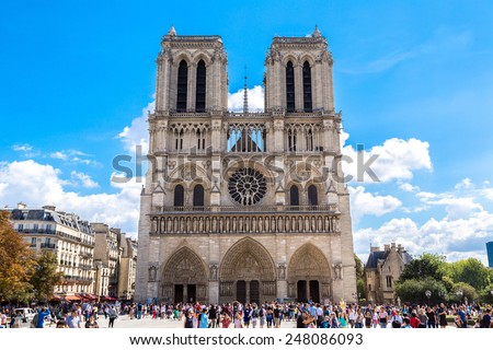 PARIS, FRANCE - JULY 14 2014: Notre Dame de Paris cathedral is the one of the most famous symbols of Paris, July 14, 2014 - stock photo