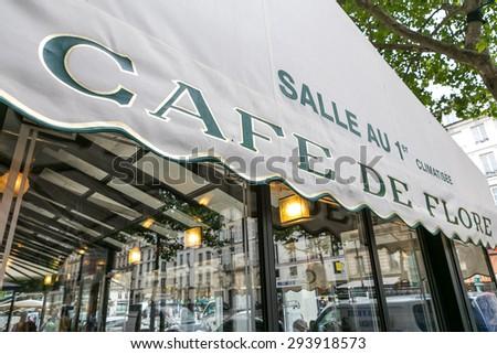 Paris, France-July 09, Parisian cafe, July 09.2014 in Paris - stock photo