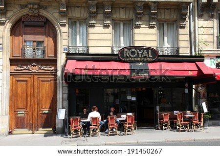 PARIS, FRANCE - JULY 24, 2011: Royal Luxembourg cafe in Paris, France. Royal Luxembourg cafe is a typical establishment for Paris, one of largest metropolitan areas in Europe. - stock photo